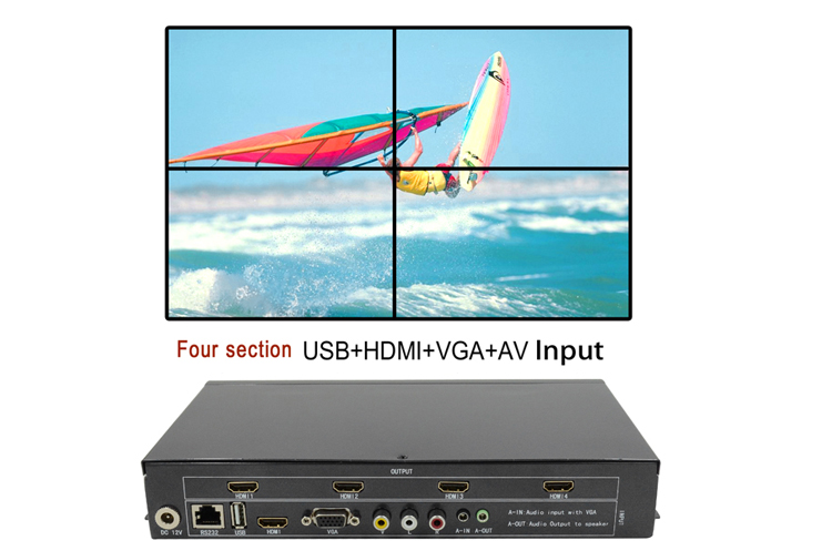 LINK-MI TV04 2x2 Video Wall Controller USB+HDMI+VGA+AV TV HDMI With Fully-digital Processing Channel